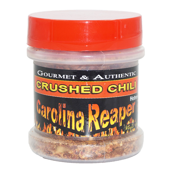 Carolina Reaper Flakes in a jar