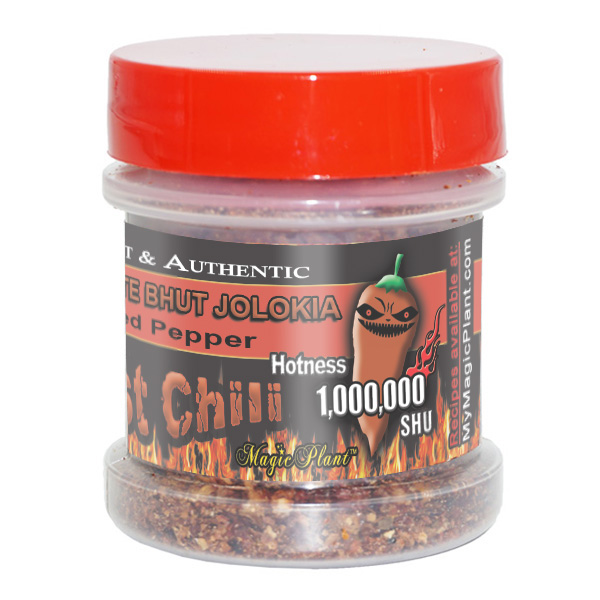 Bhut Jolokia Chocolate flakes in a Jar - left
