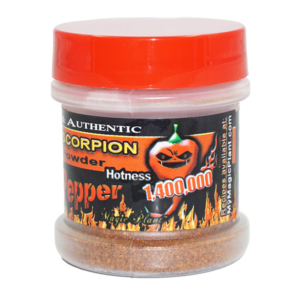 Scorpion Pepper Powder in a Jar - left