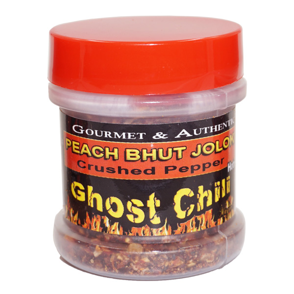Peach Ghost Pepper Flakes in a Jar